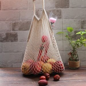 French style fish net reusable grocery bag tote